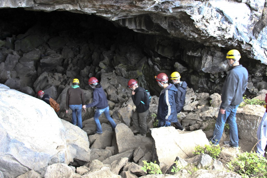 Students climb through caves on expedition