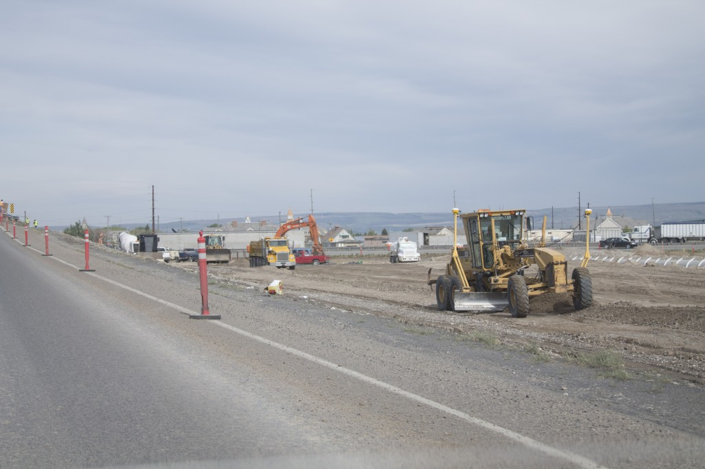 Construction crews work along Pancheri Drive where they are replacing the Pancheri Overpass near Idaho Falls. The project will continue seven days a week until November. JORDAN HINCKLEY | Scroll Photography