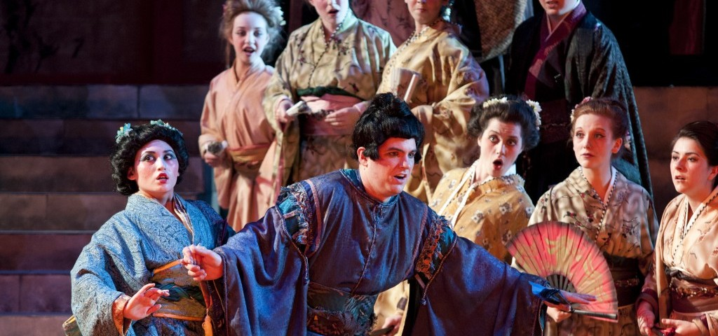 Actors in the Mikado perform June 27 in the Snow Drama Theatre. Costumes used in the show were rented from the Utah Symphony and Opera. UNIVERSITY COMMUNICATIONS   Courtesy Photo