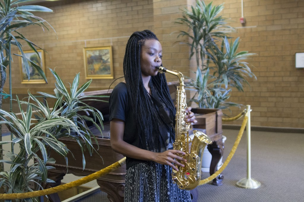 Suzette Eises, a freshman studying music, plays the saxaphone. Eises is an international student from Namibia. Namibia is a country in Africa with a population of 2,324,004 according to the World Bank, a bank that does research as well sports development in foreign countries. CHASE LAWRENSON | Scroll Photography