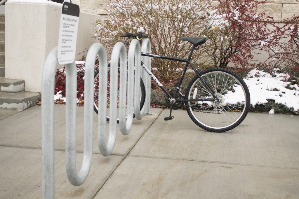 Some students prefer to bike to school, but with campus bike theft on the rise, they may choose to reconsider parking their bikes at places like the David O. McKay library. There has been a 460 percent increase in bike theft since 2009. JORDAN HINCKLEY | Scroll Photography