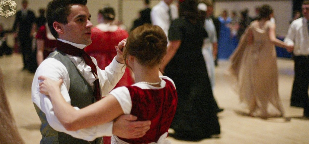 Students dress  in 19th century attire as they attend the Jane Austen Yule Ball on Nov. 30 in the Manwaring Center. Students also came out of comfort zones while dancing as characters in Austen's novels would have. RENAE GRILLIOT   Scroll Photography