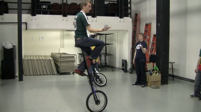 Looking for a New Activity? Try Giraffe Unicycling and Juggling.