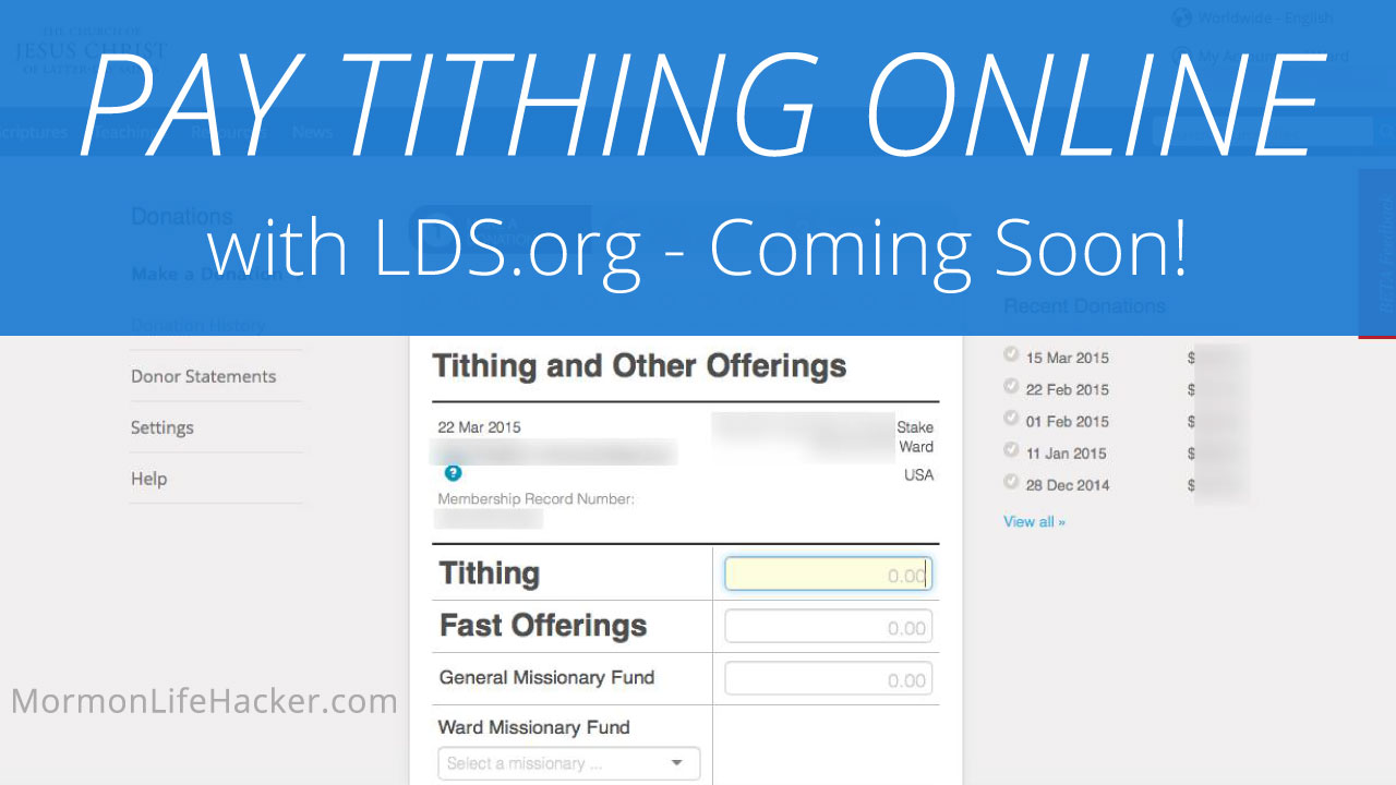 Church introduces online payment of tithing