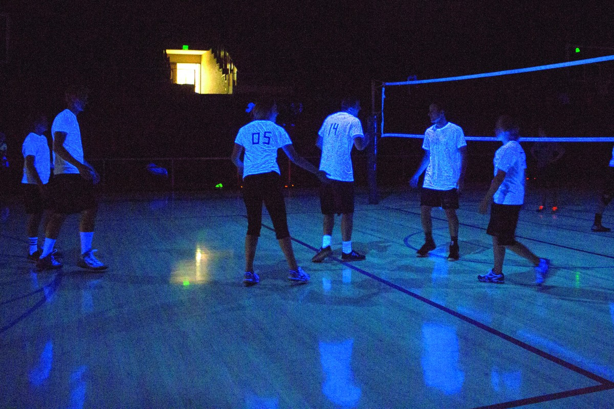 Volleyball glows under the black light