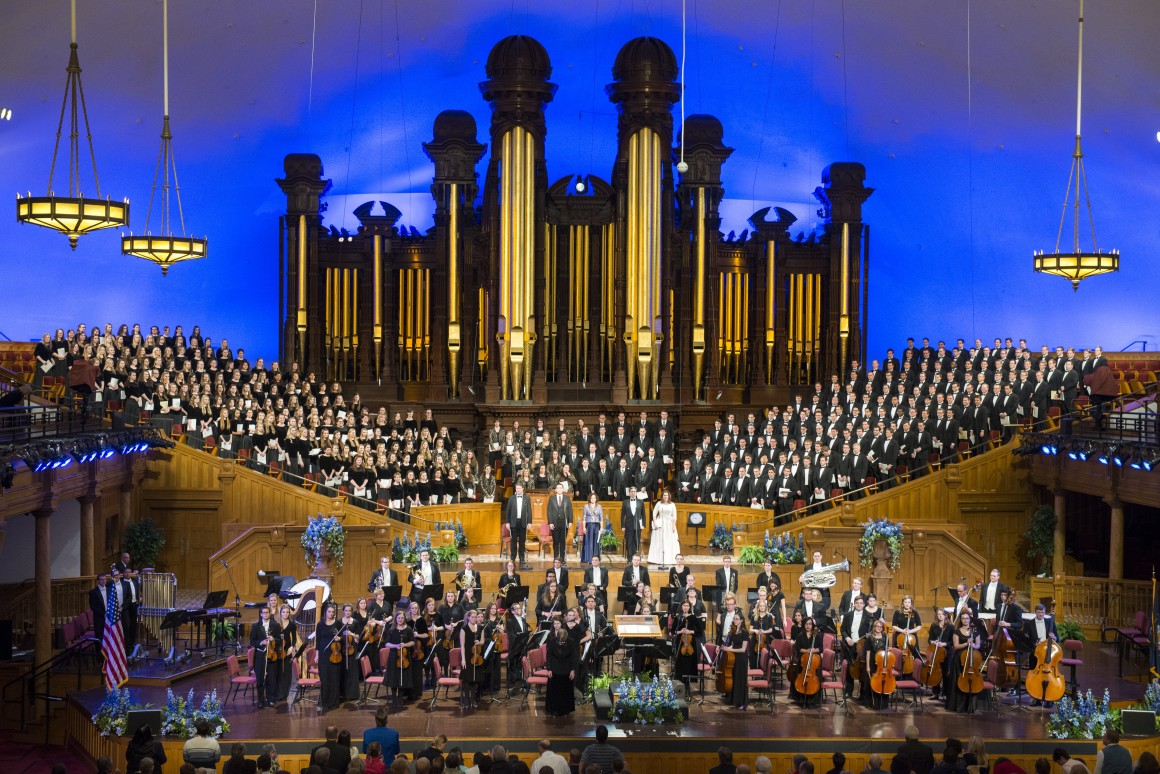 Perpromers of Brigham Young University - Idaho take their final bows at the tabernacle in Temple Square. Photo by Ryan Chase.