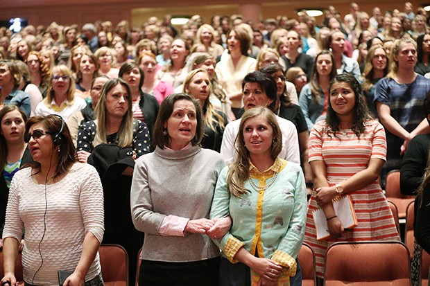 Attendees sing during  the  LDS Church General Women's Session at the Conference Center in Salt Lake City Saturday, March 26, 2016.