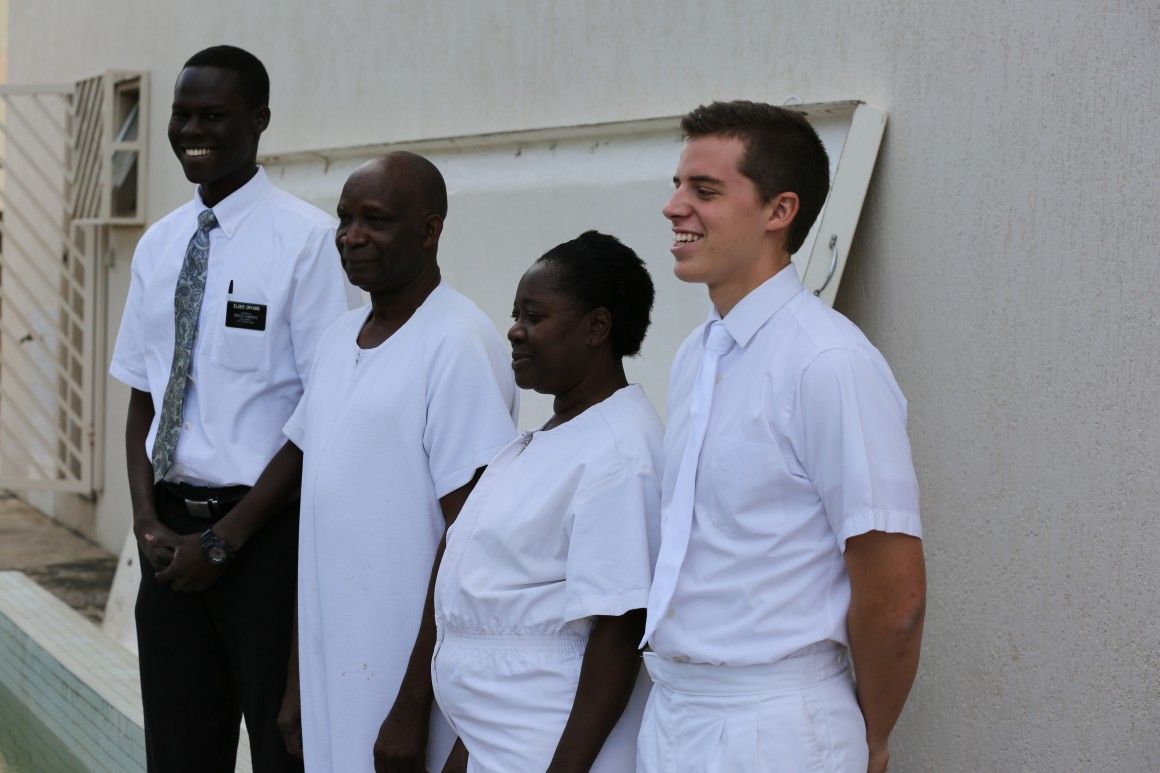 """""""Missionaries prepare for a baptism in Maputo, Mozambique, an area of Africa with a new stake,"""" according to Mormon Newsroom. """"In 2015, growth merited the creation of the Church's first two stakes (groups of congregations under the direction of an ecclesiastical leader) in Mozambique."""" (Courtesy Photo, Mormon Newsroom)"""