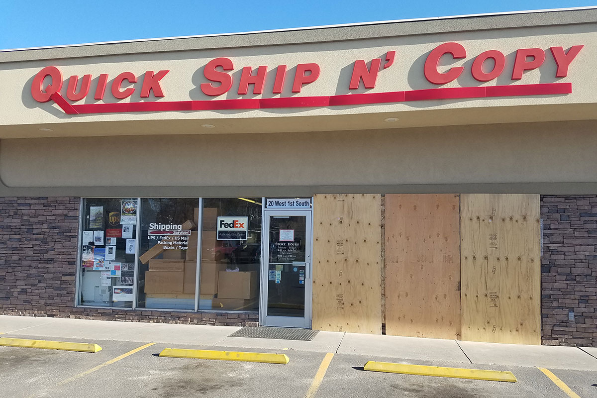 Local business hit by truck