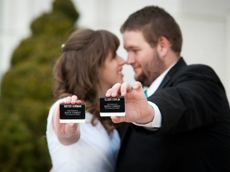 Jacob and Elizabeth Esplin. They got married in the Bountiful Temple after serving together in the New Hampshire Manchester Mission. He was her district leader for three months. (Courtesy photo by Jacob and Elizabeth Esplin)