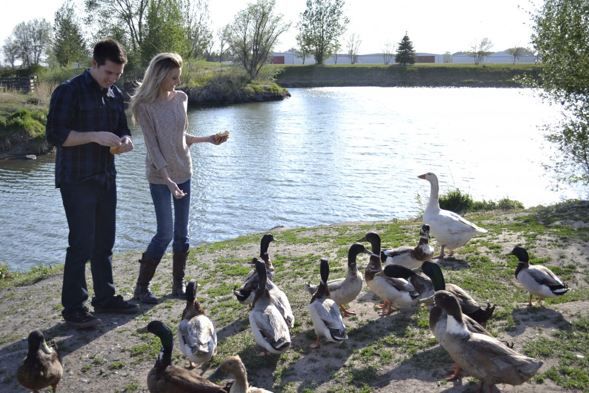 Rosarah Holling, Sophomore, Child Developement Ben Adams, Sophomore,  Feeding the ducks at nature park (Scroll Archive)