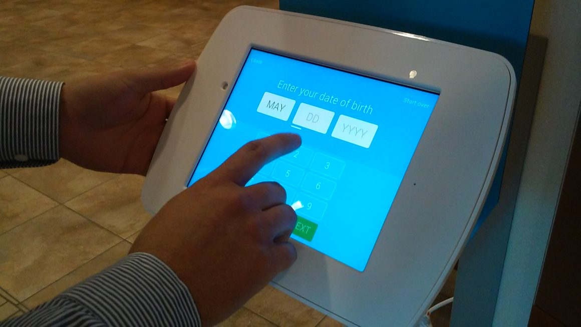 CrossChx patient check-in system at Madison Memorial Hospital. (Nicole Wood)