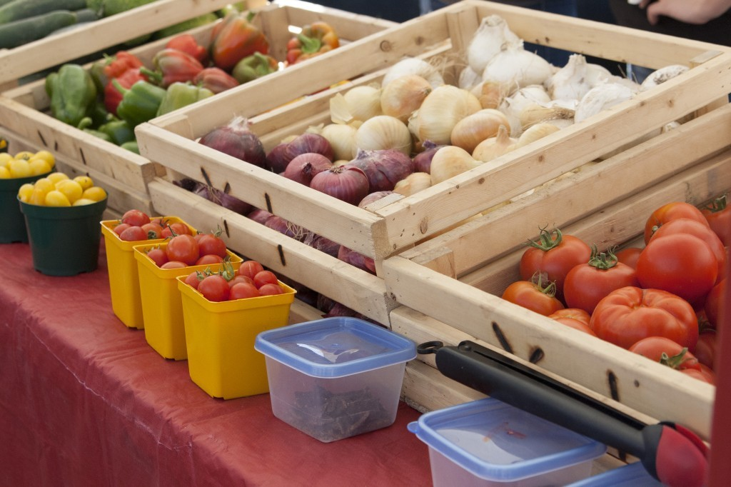 Fresh produce is displayed for sale at the Rexburg Farmers Market. The Rexburg Farmers Market is held each Friday from 4 to 8 p.m. MARIAH HALVERSON | Scroll Photography
