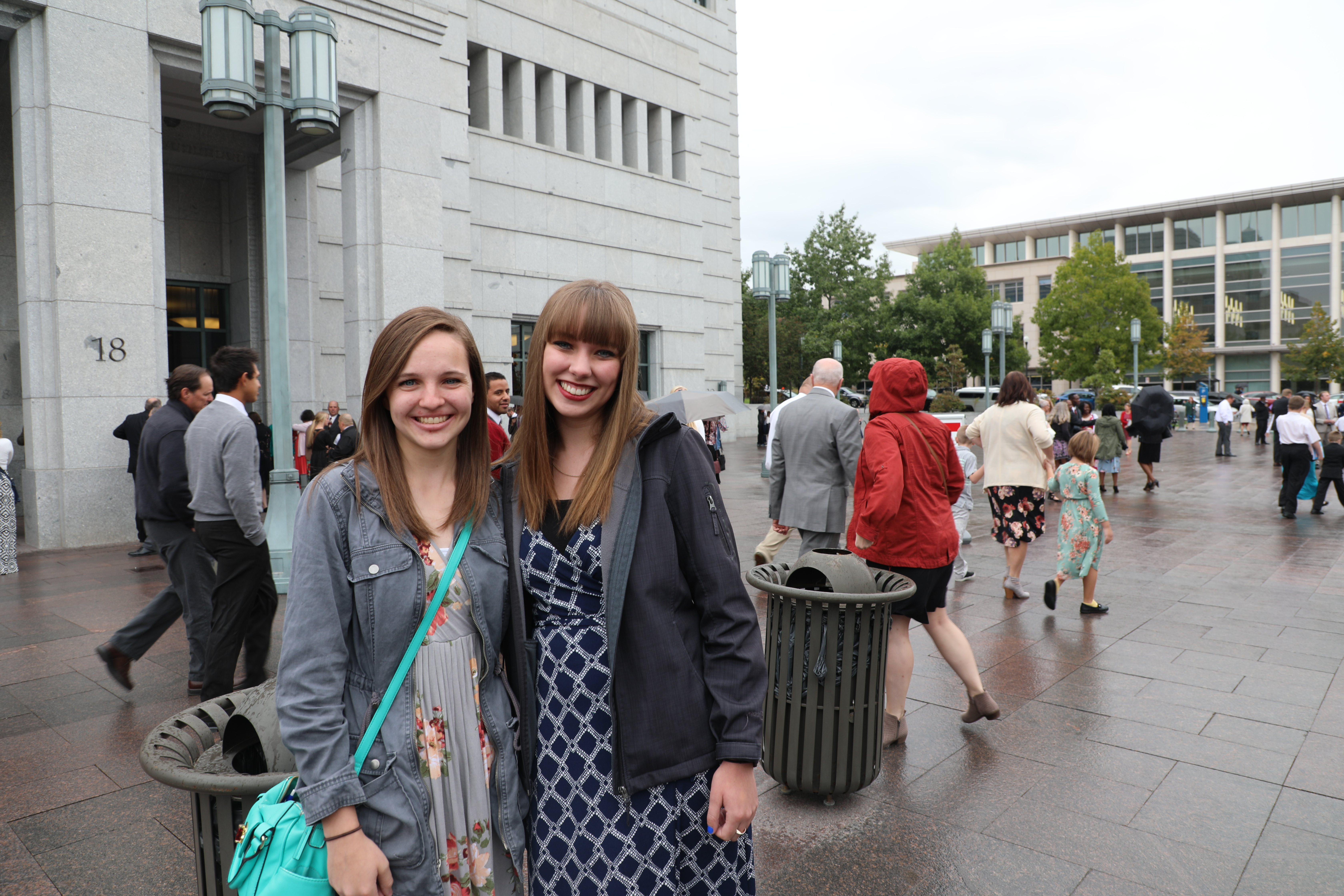 """""""My stake got tickets and I have a friend who's never been to conference before so we thought it would be cool to come down…I really liked how Elder Oaks talked about the family because I have been taking a religion class on the family so it's really cool to put 2 and 2 together.""""- Madi Knight, Utah"""