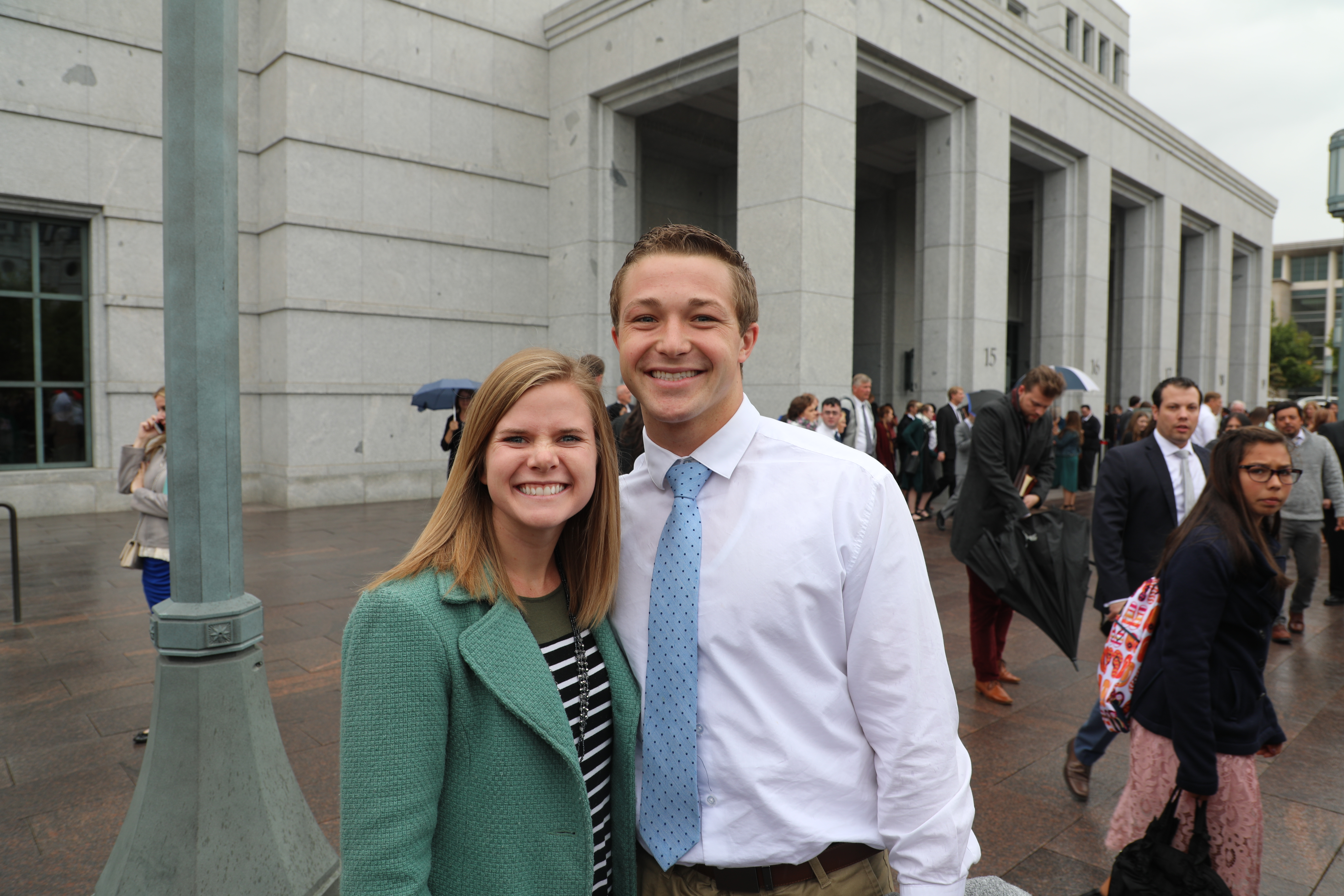 """""""You can definitely feel the spirit a lot more. It's a special opportunity to be in the Conference Center and be with so many authorities and the prophet and get to feel the spirit as they speak the word of God.""""- Cade & Jill Crest, Idaho & California"""