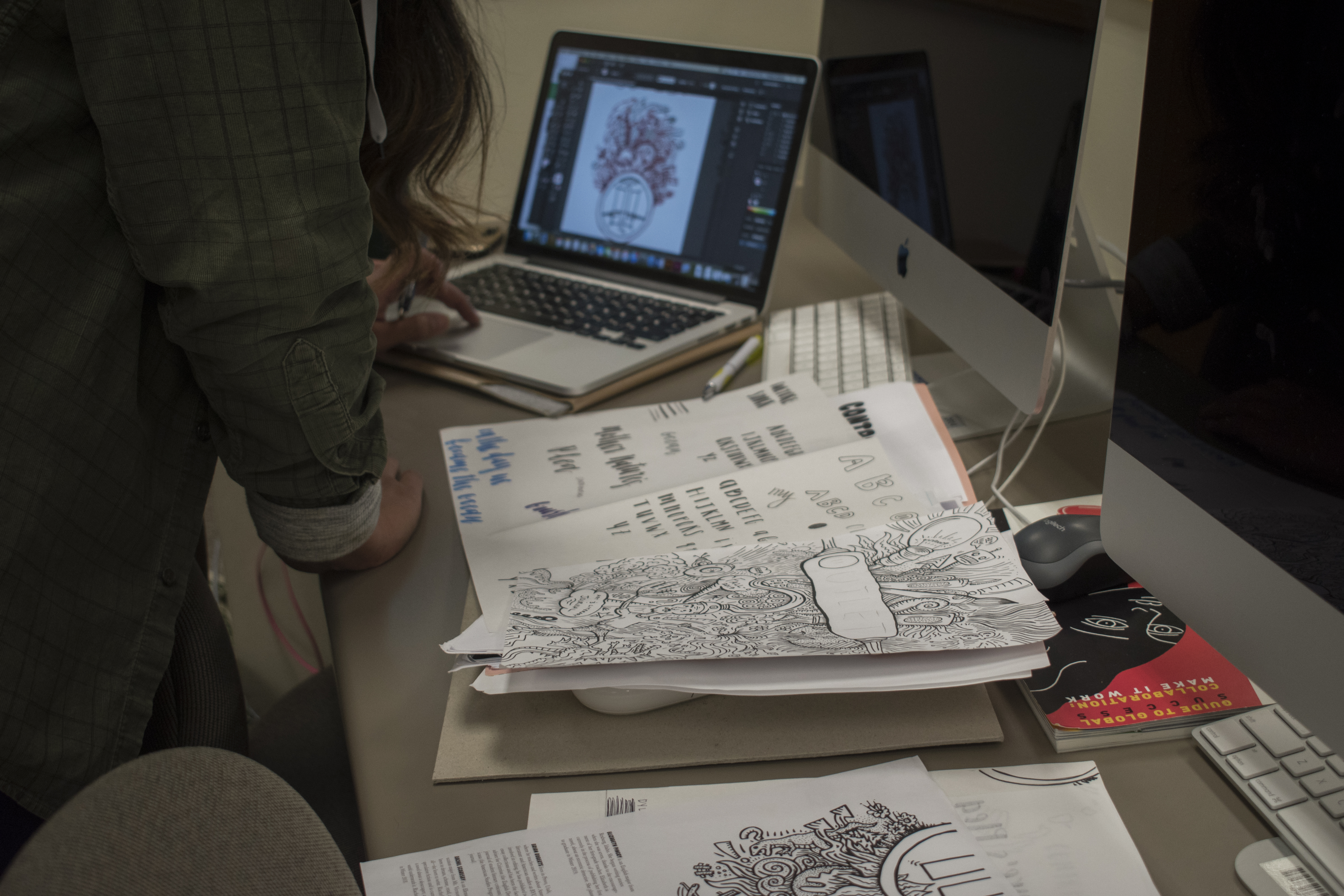 Graphic Design students working on the Outlet Magazine