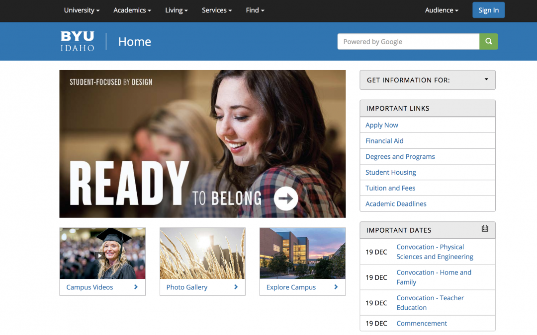 Tips on how to navigate the BYU-Idaho website