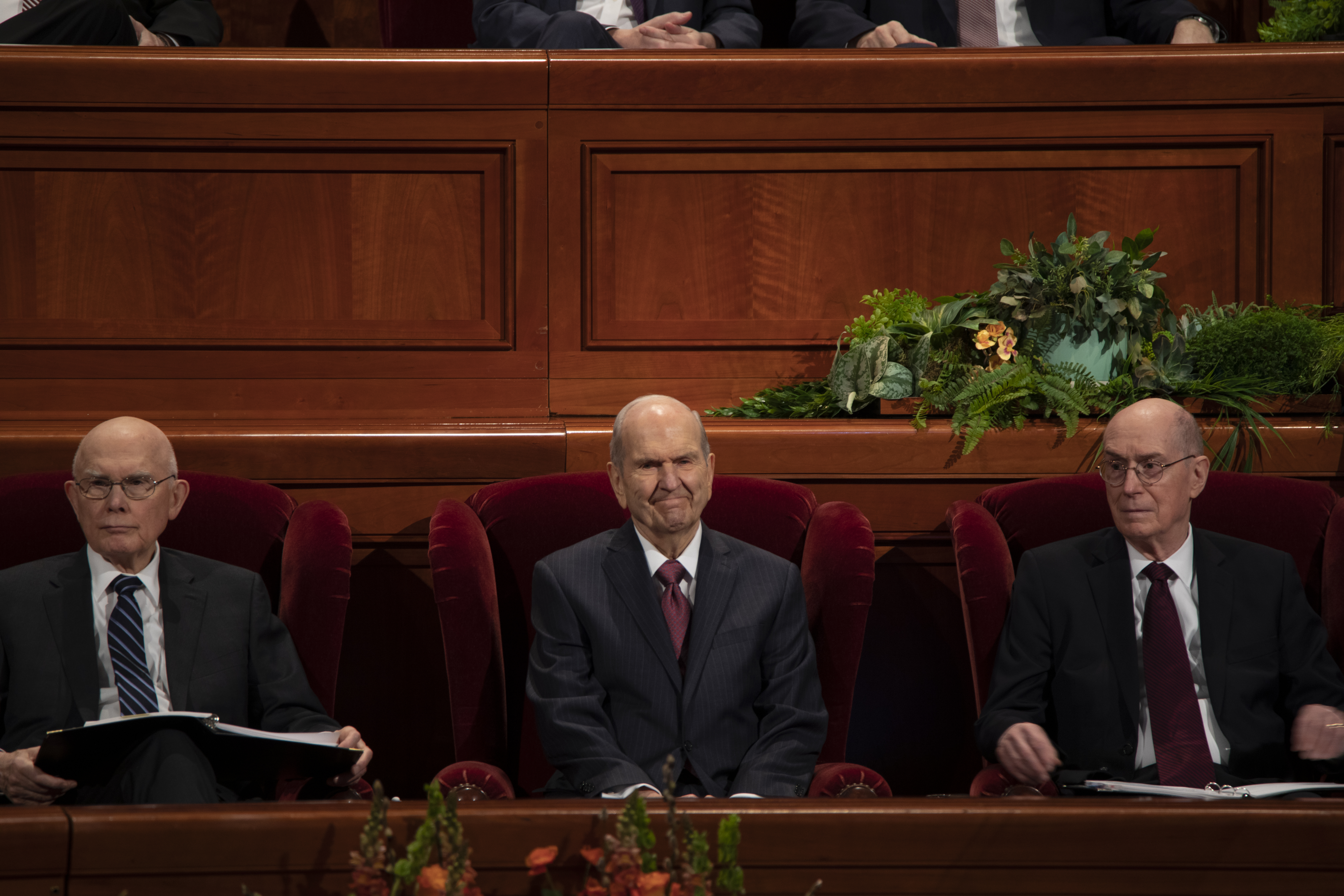 President Russell M. Nelson and his counselors sit together during the Saturday Morning Session of General Conference.