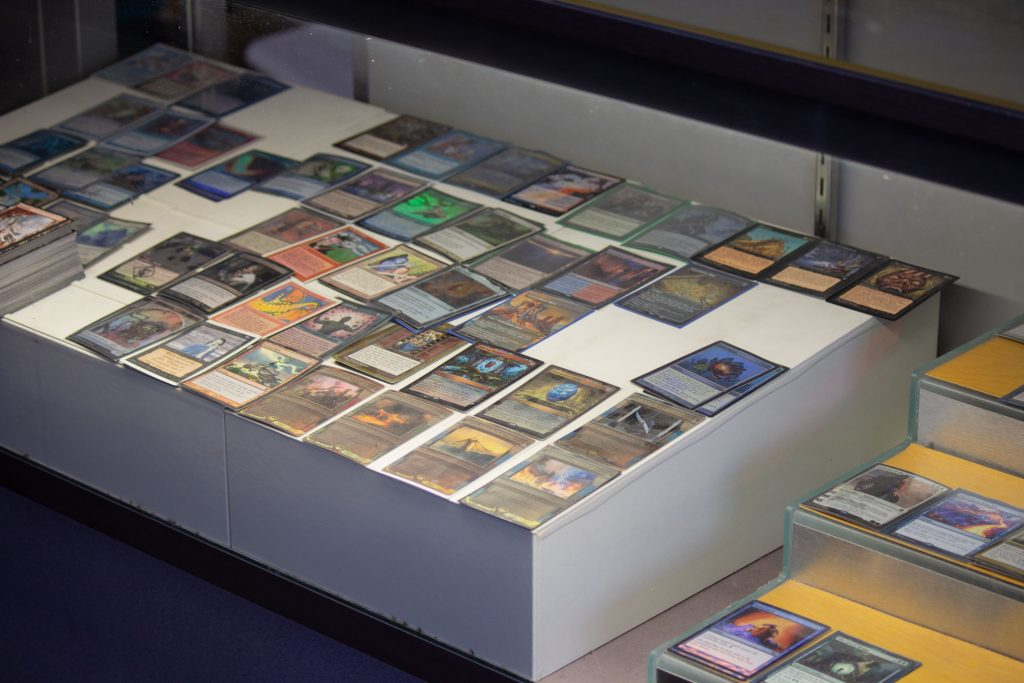 A case displaying Magic: The Gathering cards.