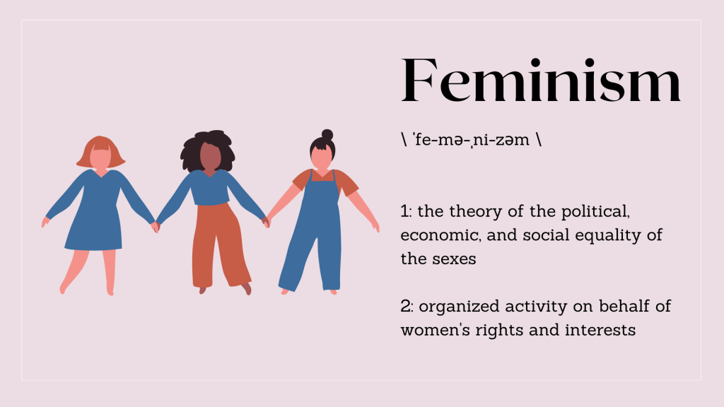 graphic of different women and the definition of feminism