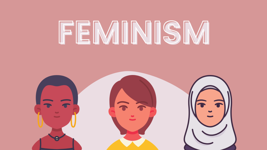 The word feminism with three different women