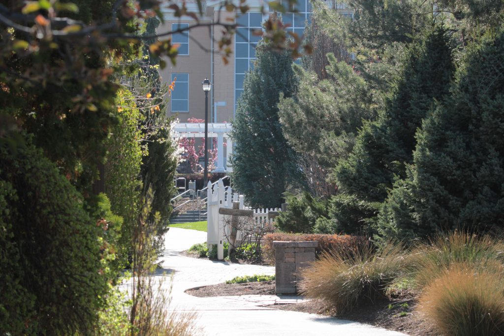 The gardens of BYU-Idaho contain many paths for students to stroll between classes.