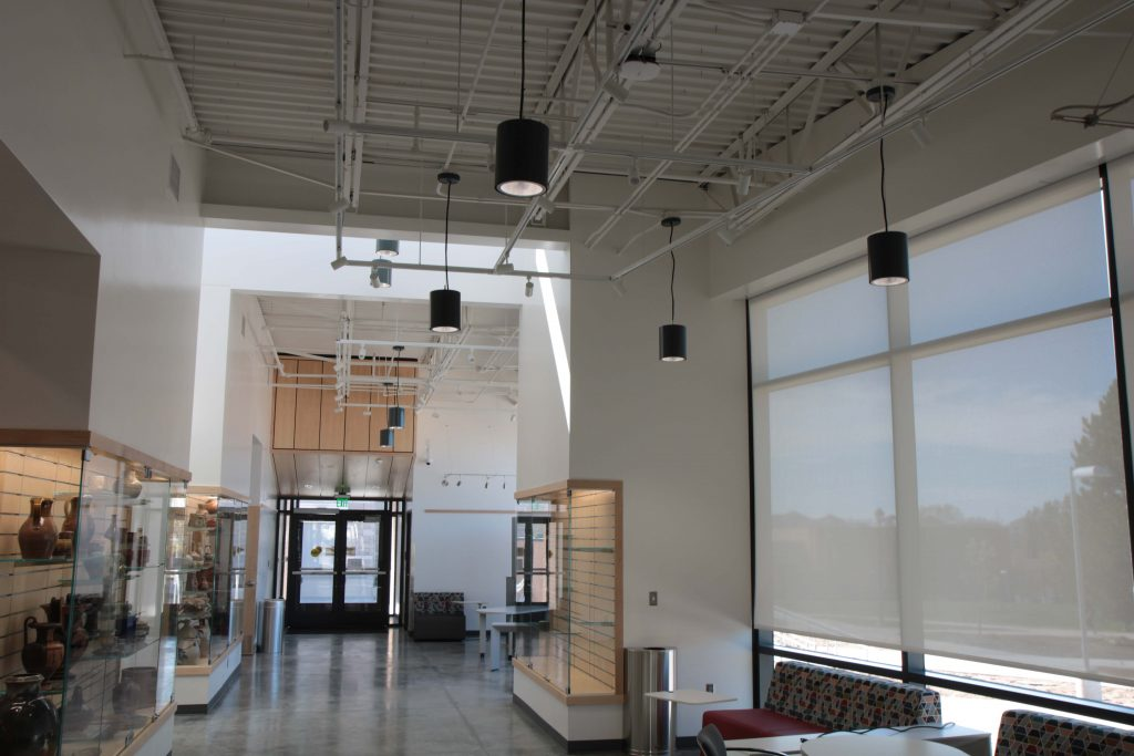 Entry hallway in the building, displayed are the students work.