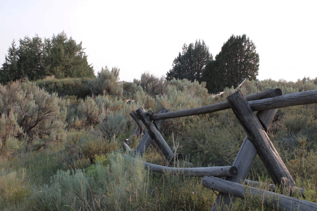 Old fences are scattered throughout the St. Anthony Dunes.