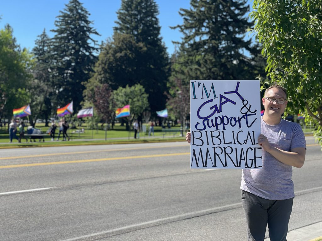 Tember Harward participating in the Family Values for America protest.