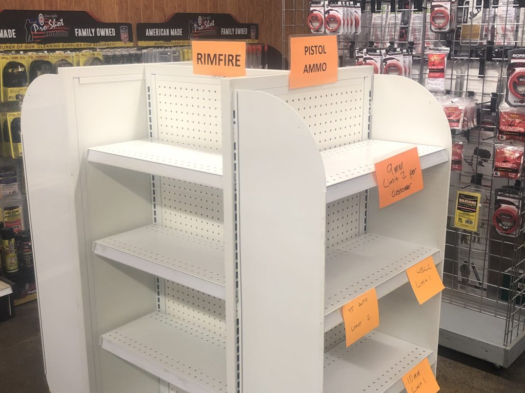 Empty ammo shelves; many calibers have a limit on how many a customer can buy.