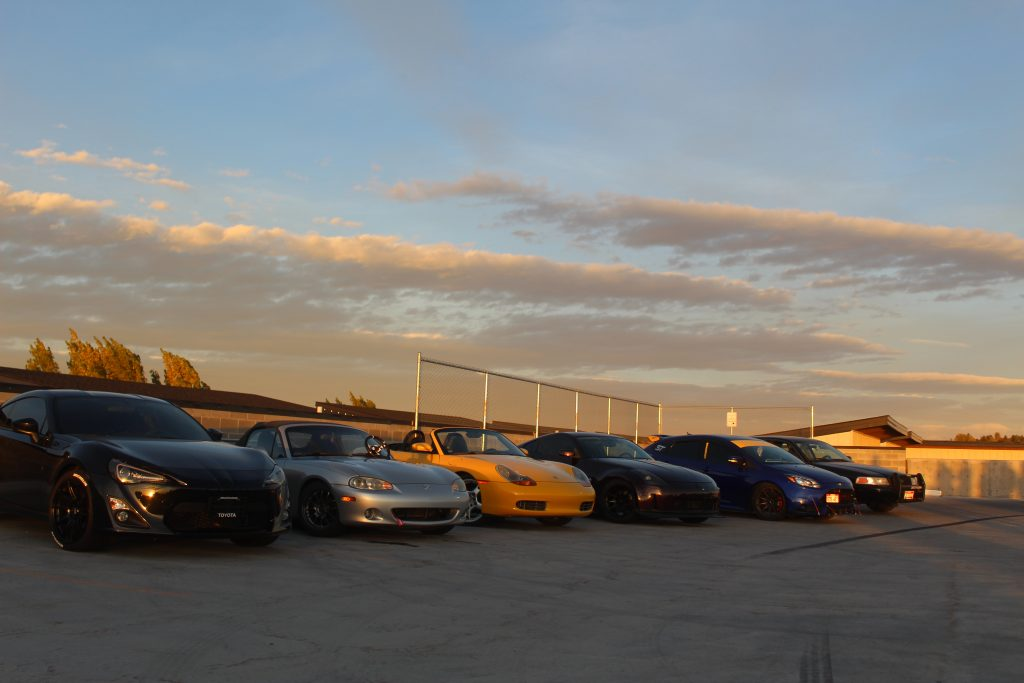 Cars lined up for car meet