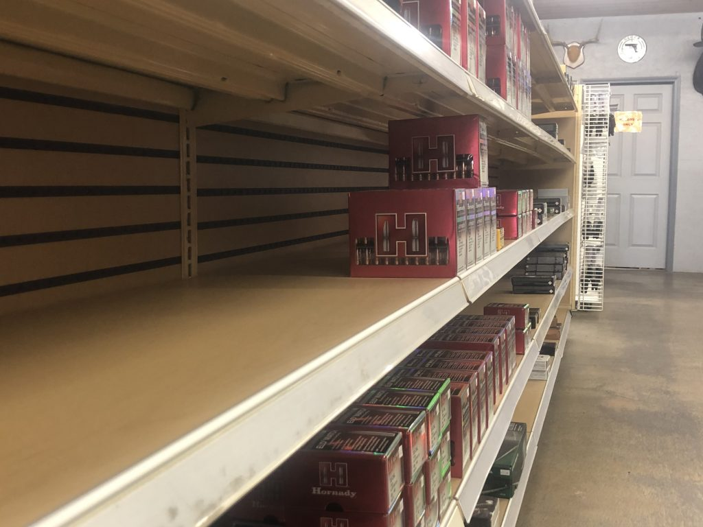 Low ammo supply on shelves