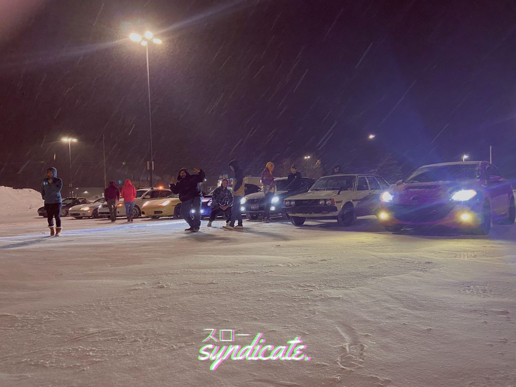 Car show happening in the winter