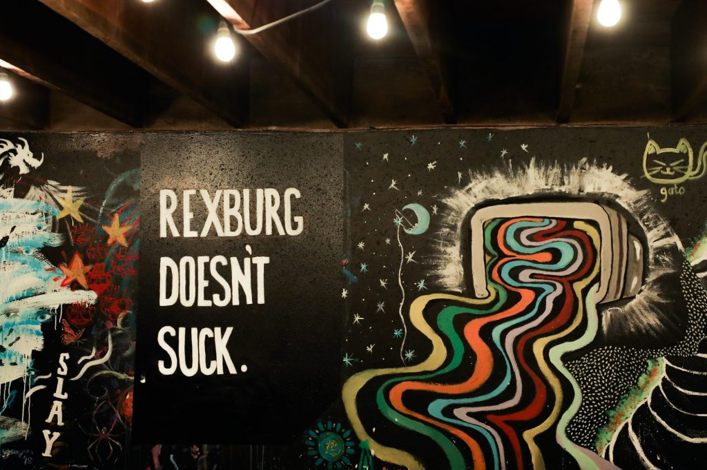 """A close up of the """"Rexburg doesn&squot;t suck"""" painting."""