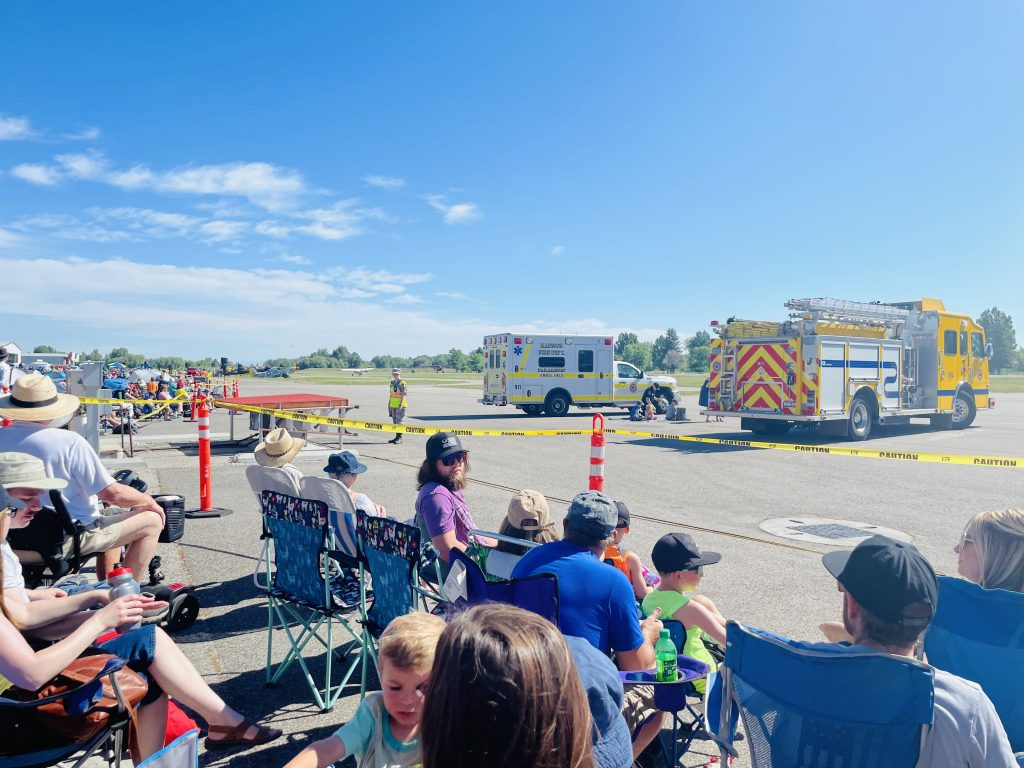 CAP cadets lining the perimeter between the crowd and historical airplanes at 2021 Rexburg airshow.